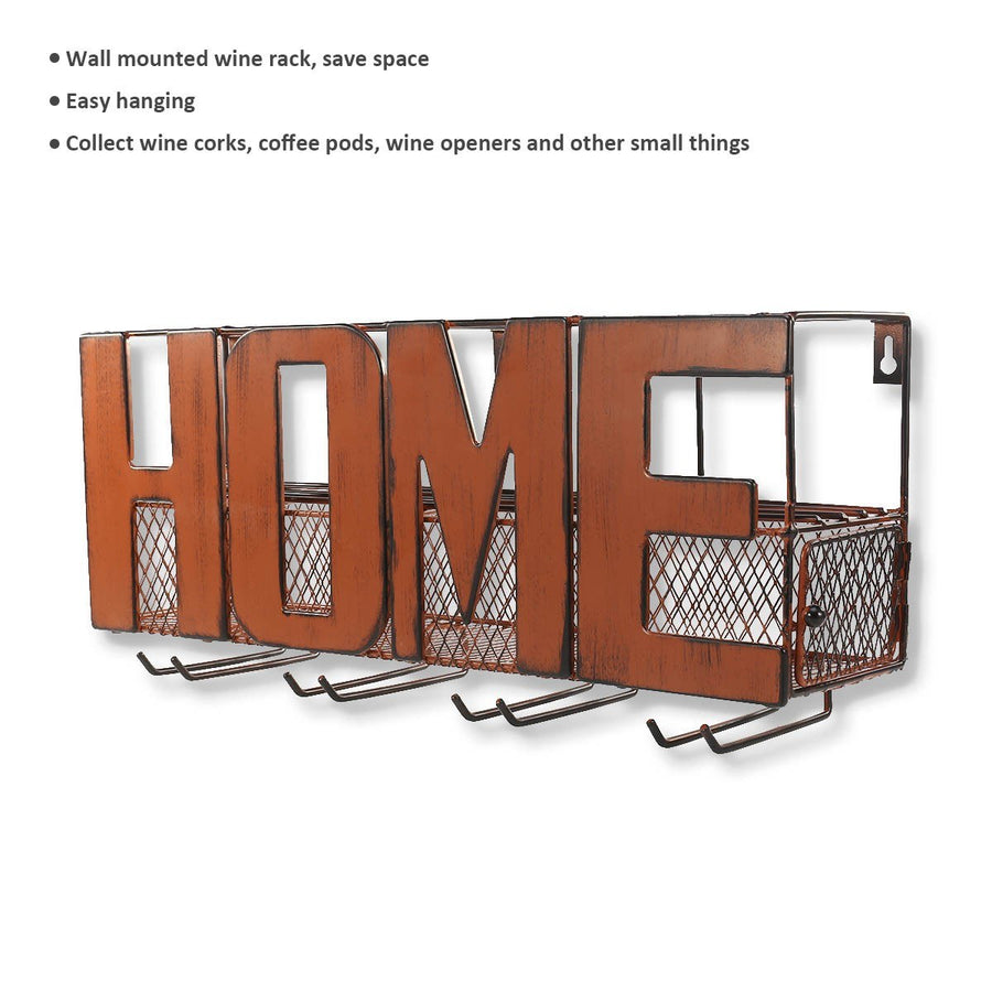 Wall Mounted Wine and Glass Rack with HOME Sign Metal Wall Art 4 Bottle Holder
