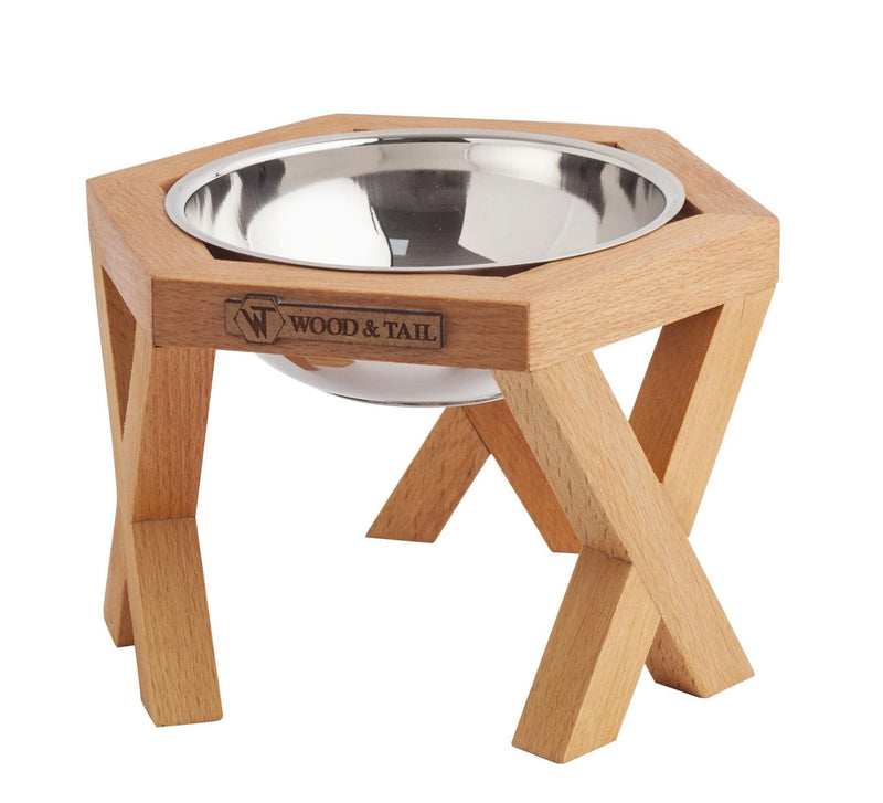Single Elevated and Raised Wooden Dog Bowl Stand