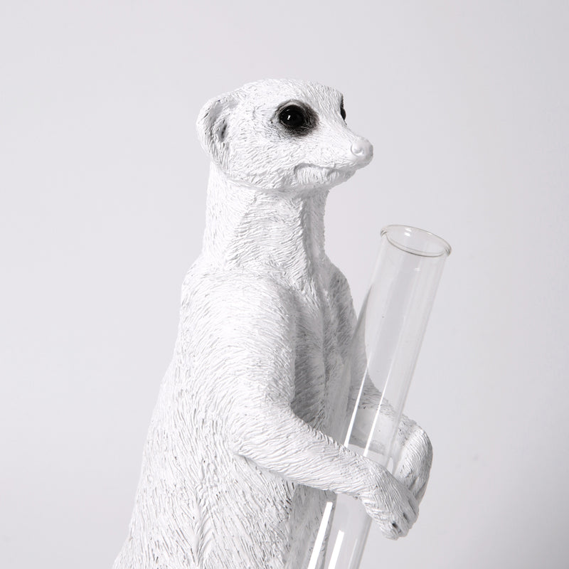 Single Stem Vase with Meerkat Ornament and Decorative Statue