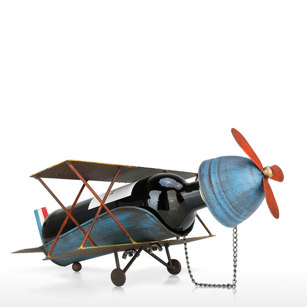Small Wine Rack with Airplane Ornament Home Decor