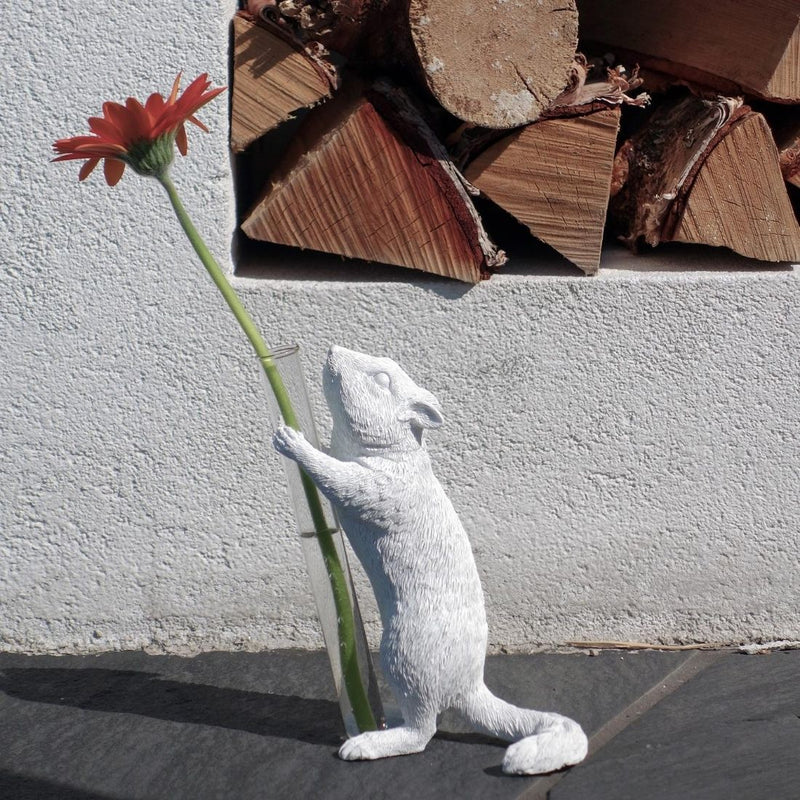Squirrel Stem Vase for Single Flower with Decorative Statue