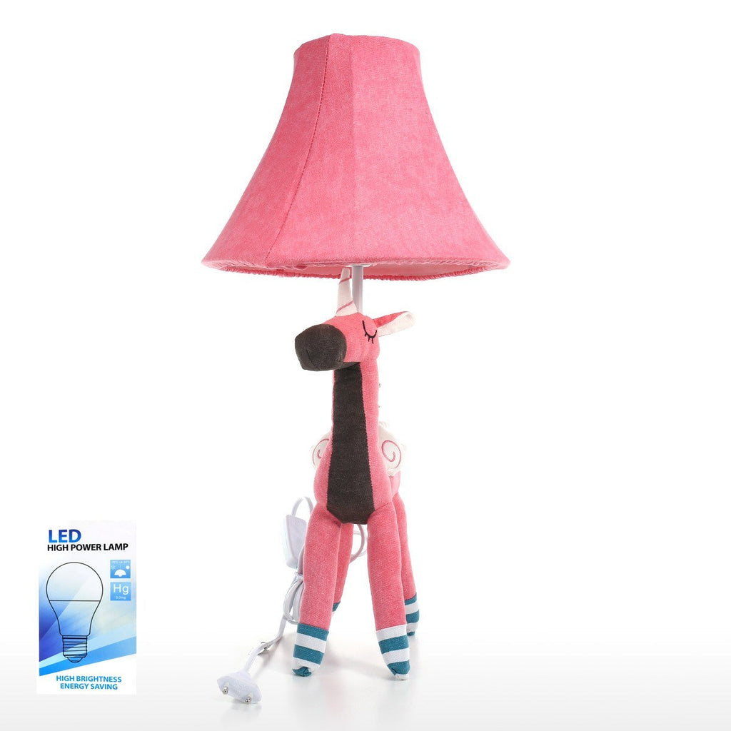 Table and Desk Lamp with Pink Unicorn Toy for Nursery Decor