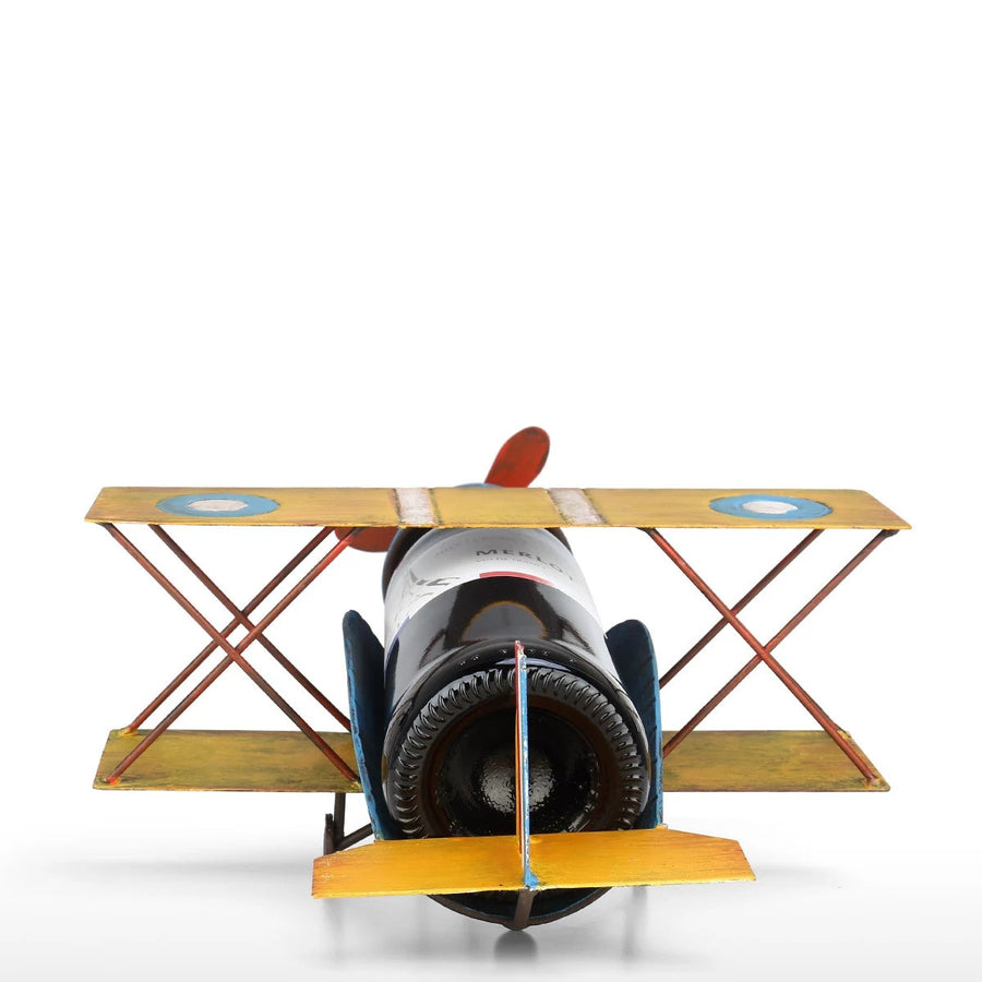 Vintage Airplane Decor Ornament with Single Wine Bottle Holder Rack