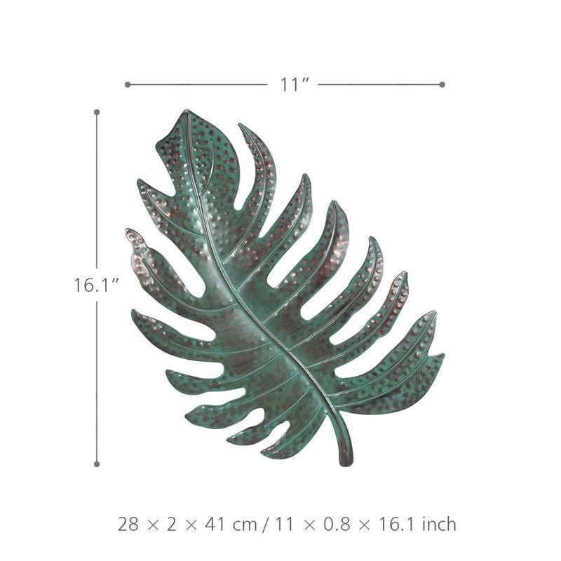 Vintage Green Metal Leaf Wall Decor Art