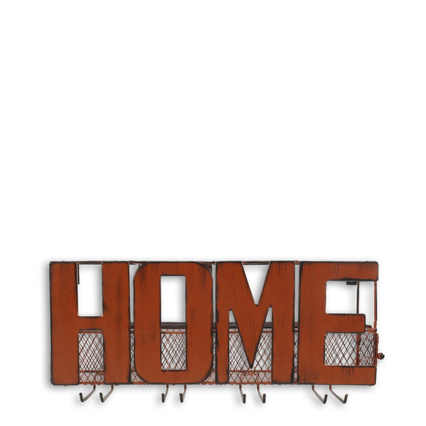 Wall Mounted Wine and Glass Rack with HOME Sign Metal Wall Art