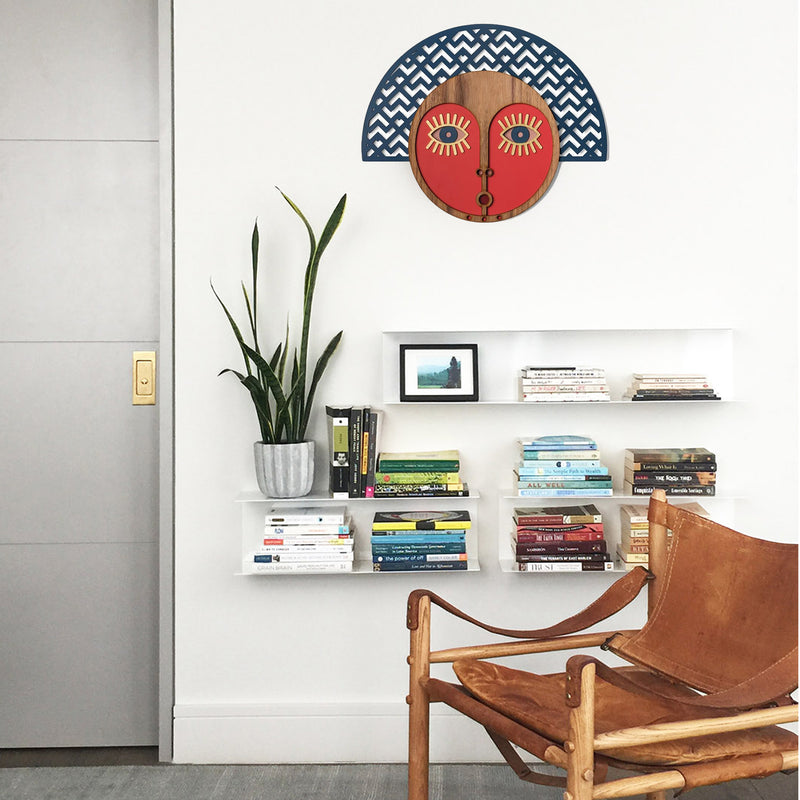 Wall Hanging on the Wooden Abstract Face to Boho Wall Decor