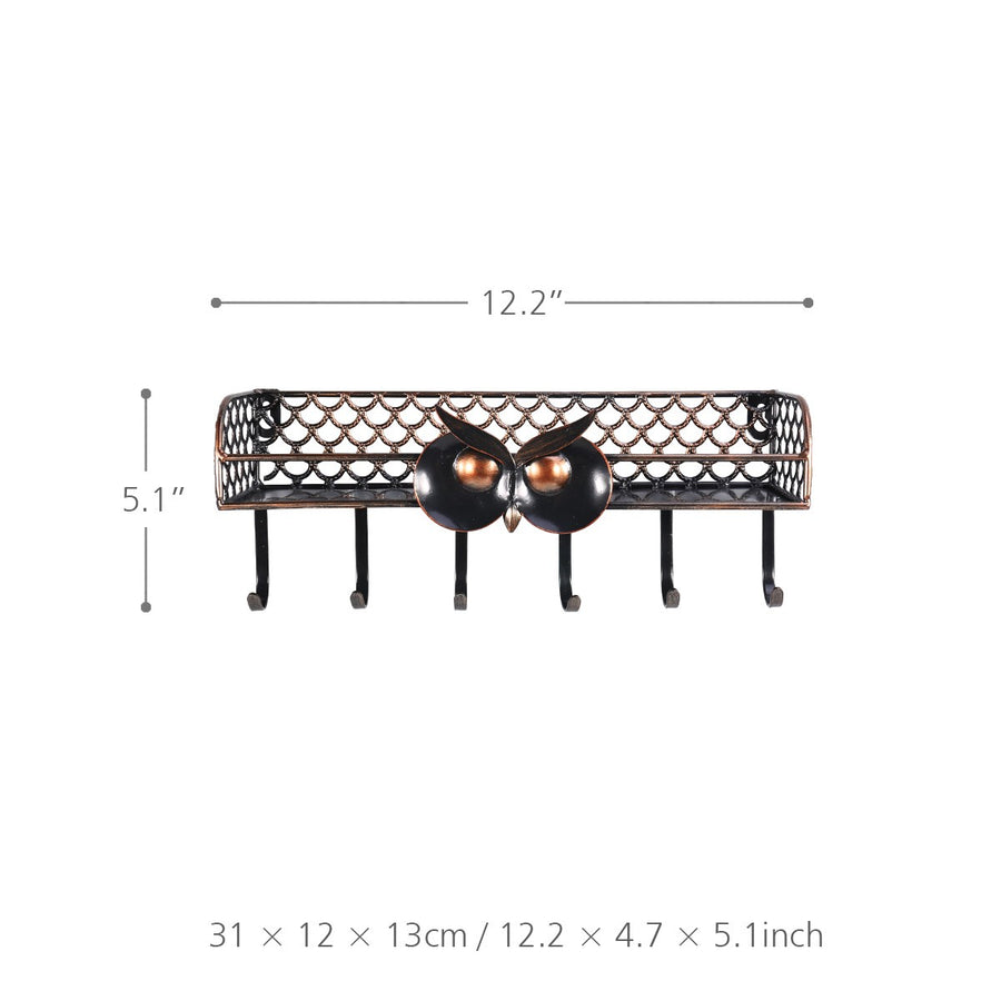 Wall Mounted Coat Rack with Wall Mounted Shelves for Key or Iron Holder