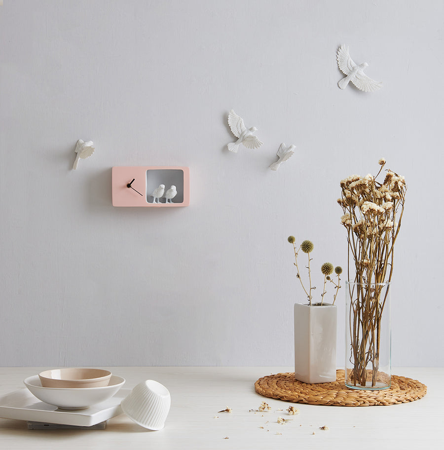 What Time is it in the Bird Nest Pink Sparrow to Modern Wall Clock and Pink Home Decor Accessories