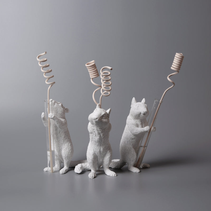 White Vase Series to Flowers and Diffuser Reeds with Squirrel Statue