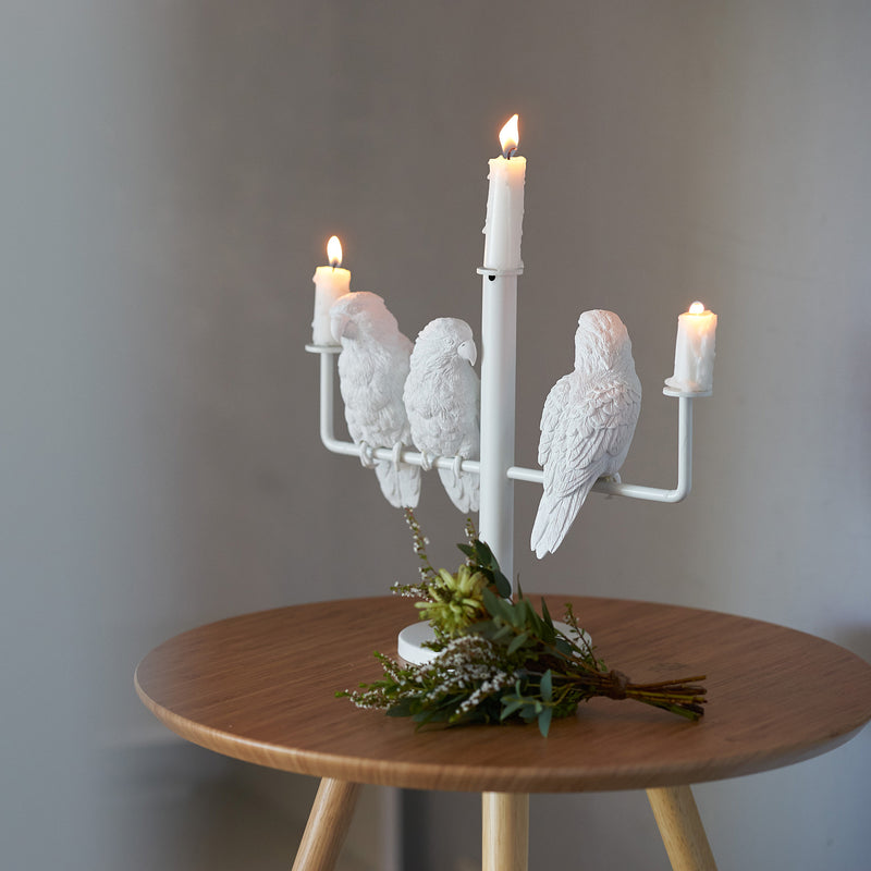 White Candle Holder for 3 Three Candle with Resin Parrot Sculpture for Home Decor Accessories Invite Parrots to Chat or Dinner in Peace & Naturality