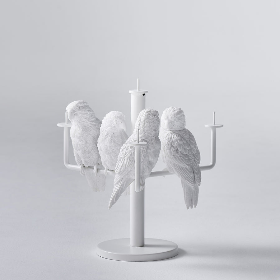 White Candle Holder for 4 Four Candle with Resin Parrot Sculpture for Home Decor Accessories Invite Parrots to Chat or Dinner in Peace & Naturality