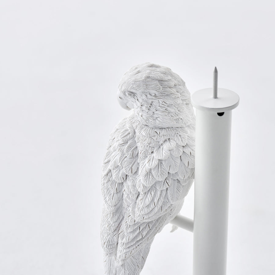 White Candle Holder with Resin Parrot Sculpture for Home Decor Accessories Invite Parrots to Chat or Dinner in Peace & Naturality