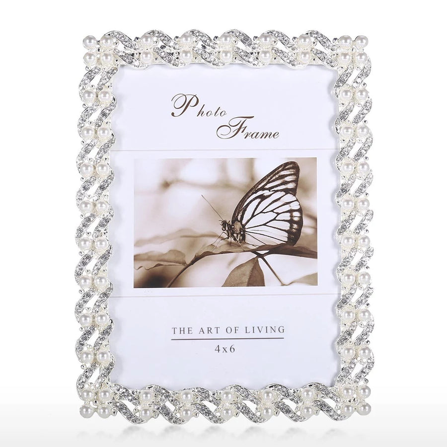 White Photo Frame with Bead Detail