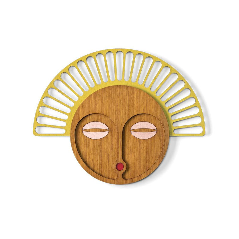 Wood Wall Art with African Wall Mask