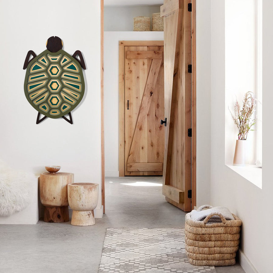 Wooden Turtle Wall Art to Home Decor by Umasqu
