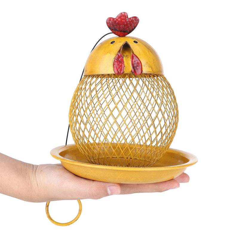 Yellow Hanging Bird Feeder with Chicken Figurines