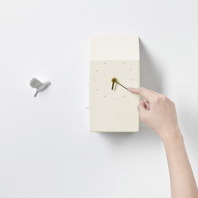 Yellow Cuckoo Clock with Minimal and Modern Details Bird Sculpture