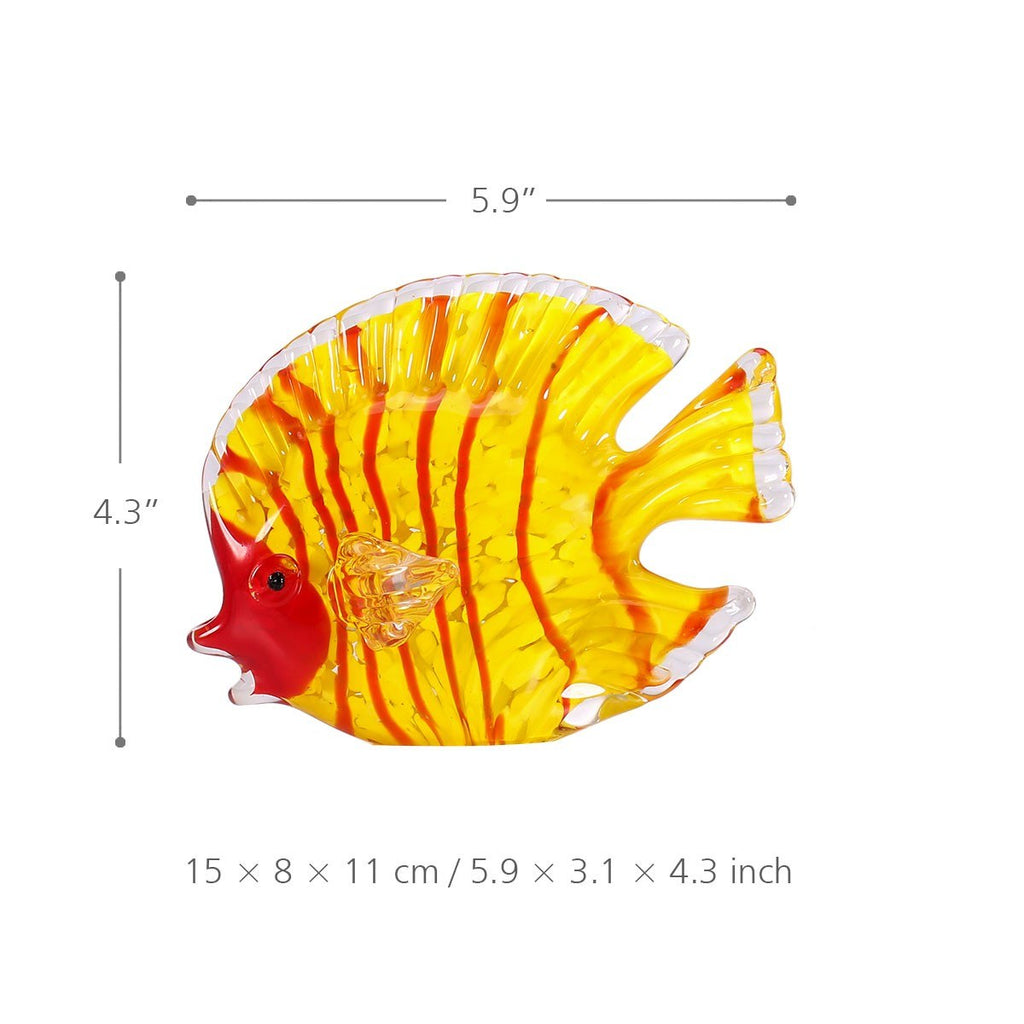 Yellow Fish and Red Fish with Blown Glass Fish Decor