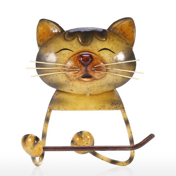 Yellow Paper Towel Holder for Kitchen, Bathroom, Toilet with Farmhouse and Rustic Metal and Iron Cat Style