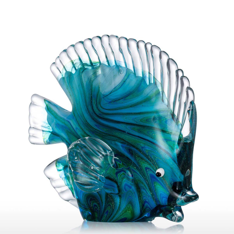 Blue Glass Statuettes Tropical Fish, , Art Decoration, Interior Decoration, Sculpture, Glass Art,