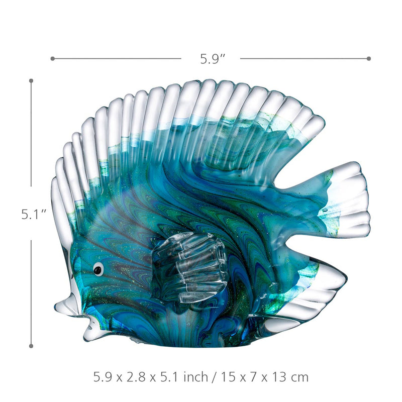 Blue Glass Statuettes Tropical Fish - Sweet Home Make