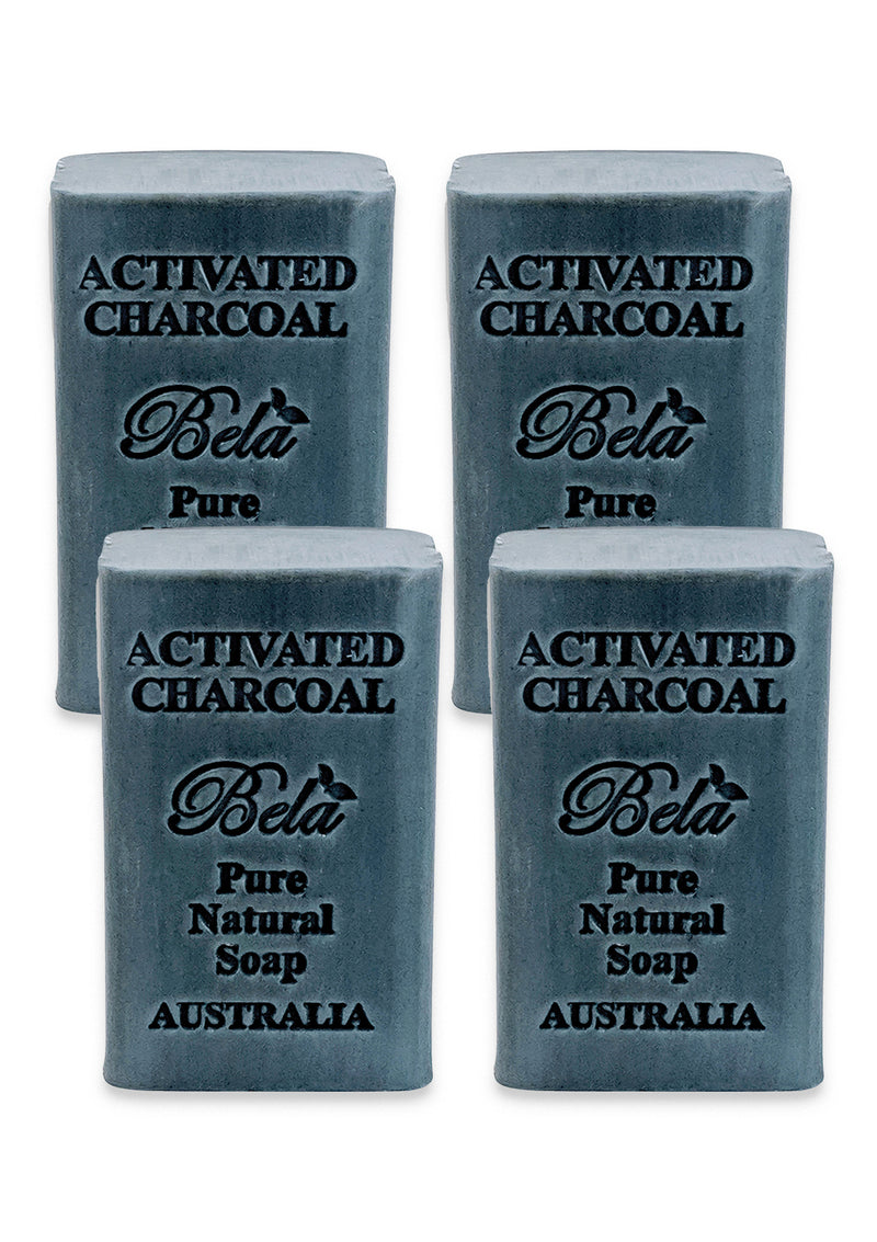 Bela Pure Natural Soap, Activated Charcoal, 6.5 Oz - 4 Pack