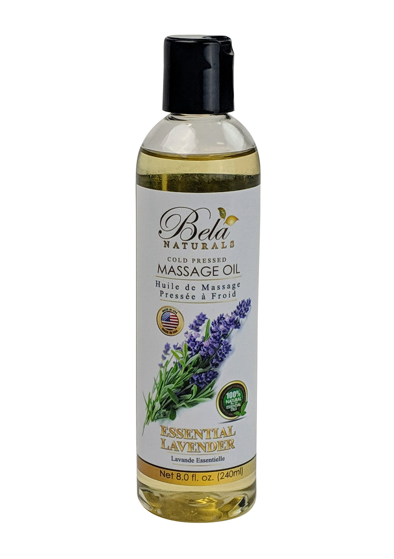 Bela Naturals Massage Oil Essential Lavender 8 Oz Bottle