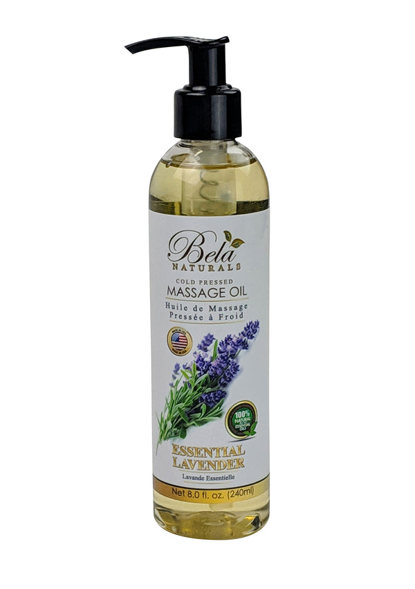 Bela Naturals Massage Oil Essential Lavender 8 Oz