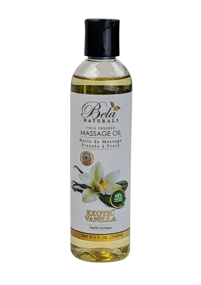 Bela Natural Massage Oil Exotic Vanilla 8 Oz Bottle