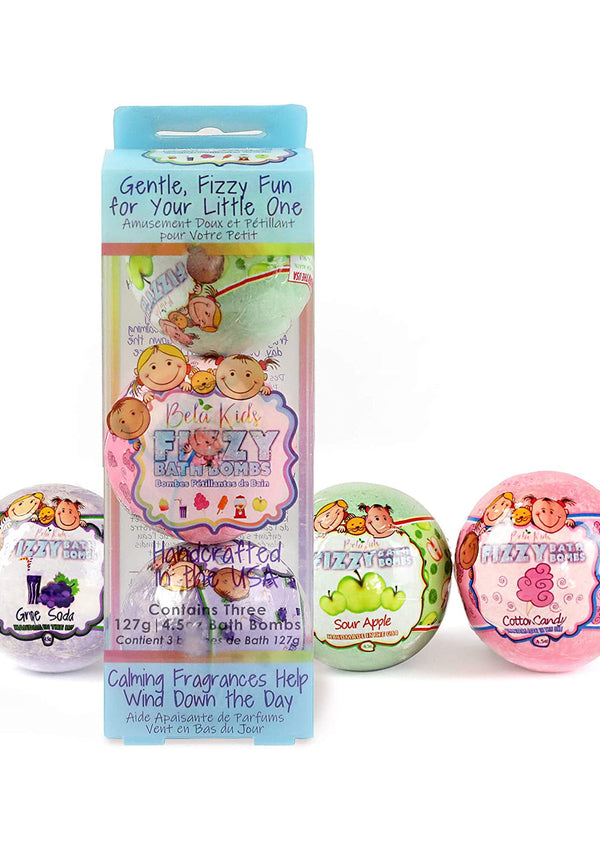 Bela Kids Fizzy Bath Bombs, 3 Piece Assorted Gift Set