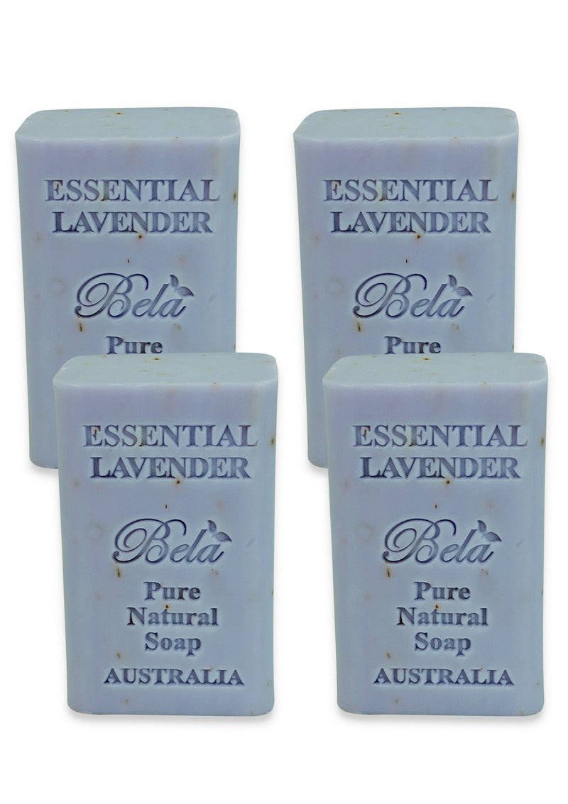 Bela Pure Natural Soap, Essential Lavender 6.5 Oz - 4 Pack