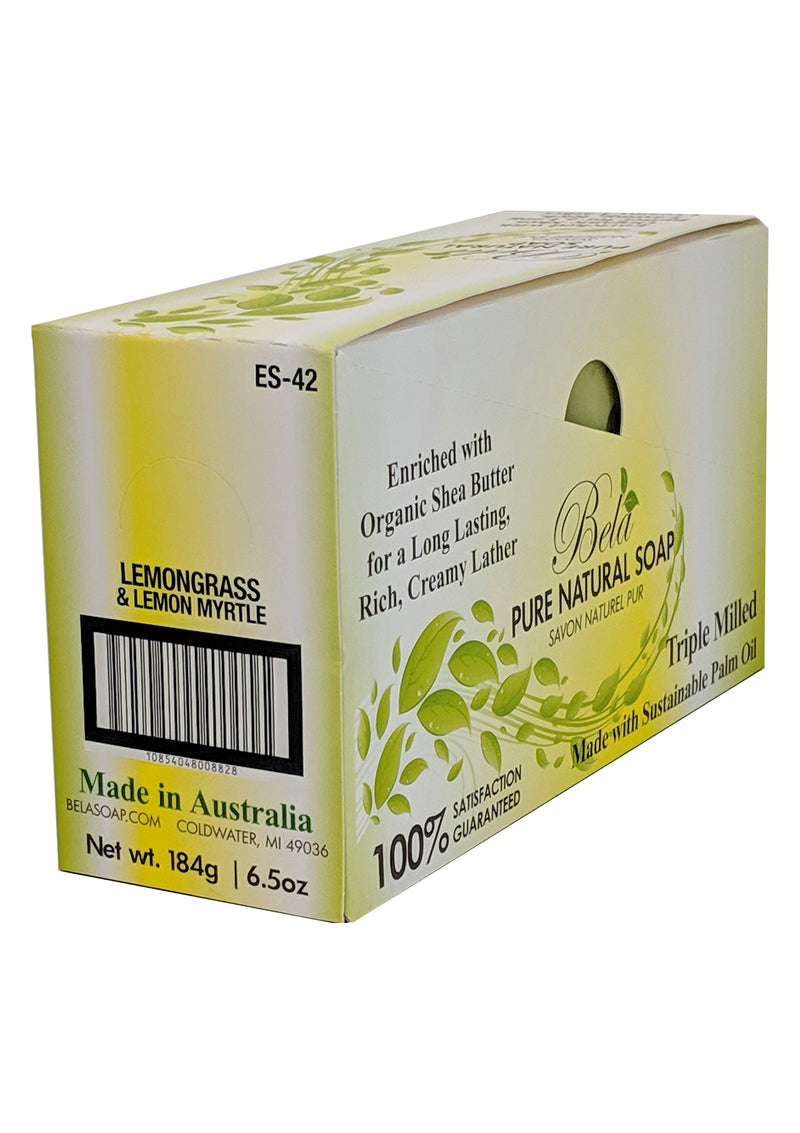 Bela Pure Natural Soap, Lemongrass & Lemon Myrtle, 6.5 Oz - 4 Pack