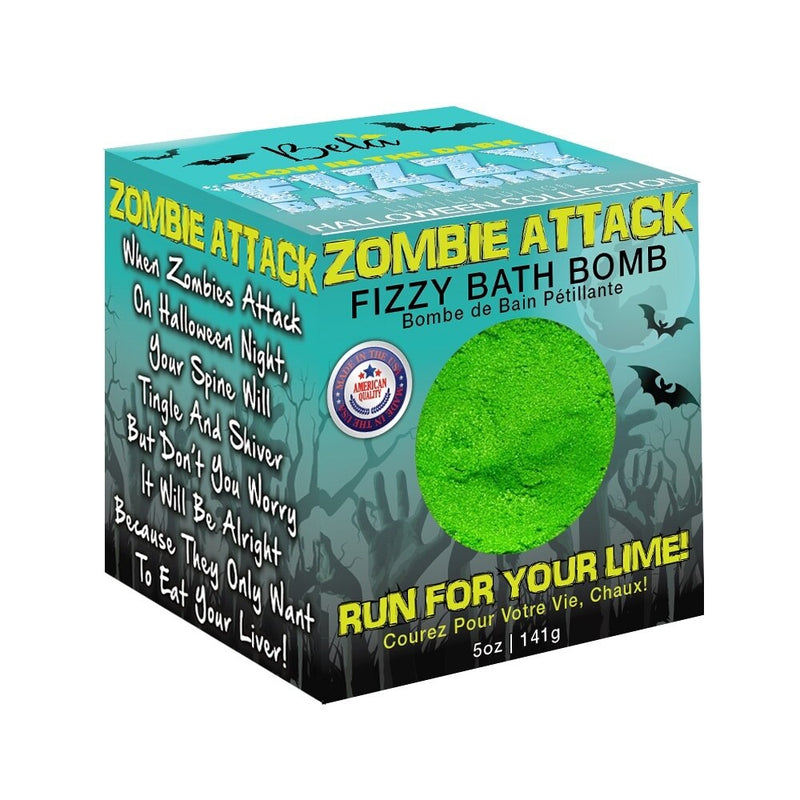 Halloween Fizzy Glow in the Dark Bath Bomb, Zombie Attack, 5.0 Oz