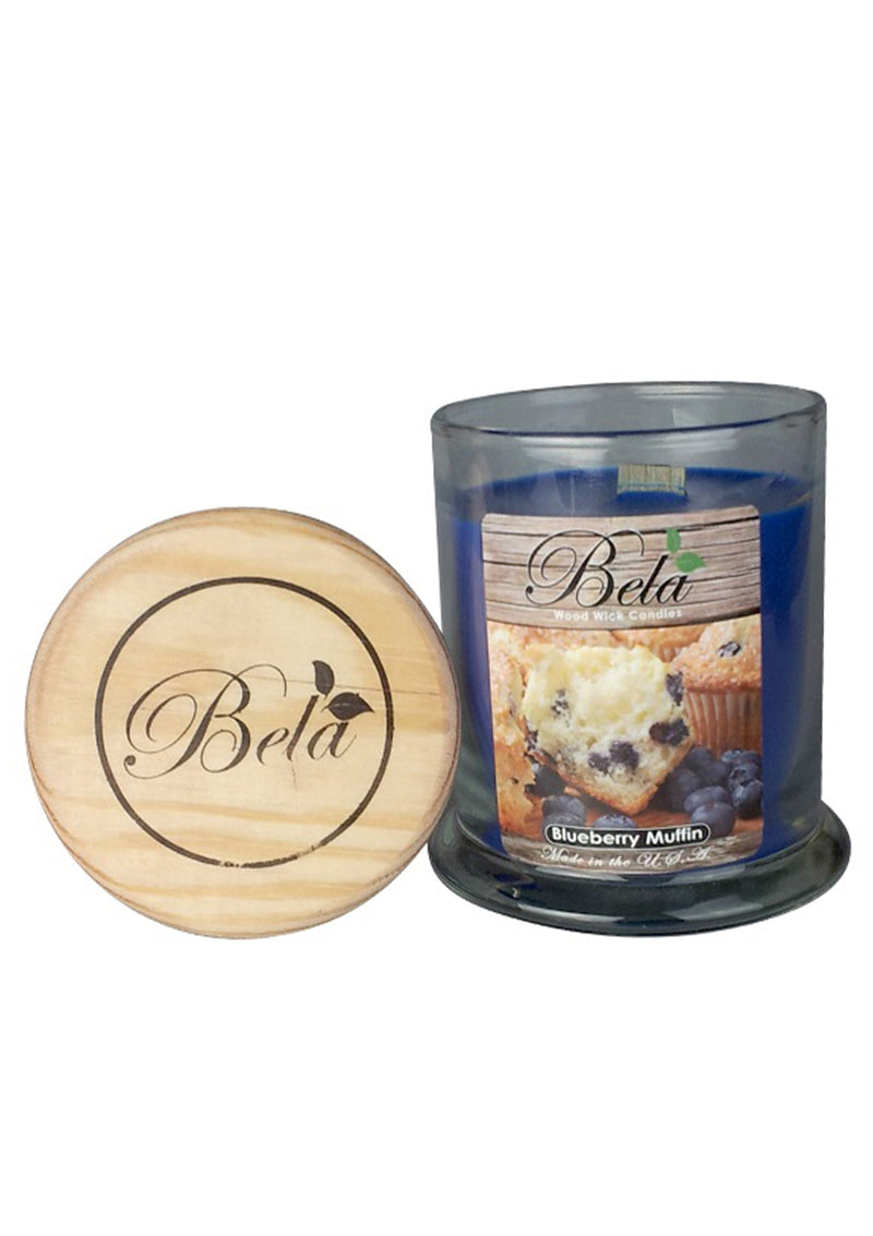 Bela Home Fragrance Blueberry Muffin Wood Wick Candle 9 Oz
