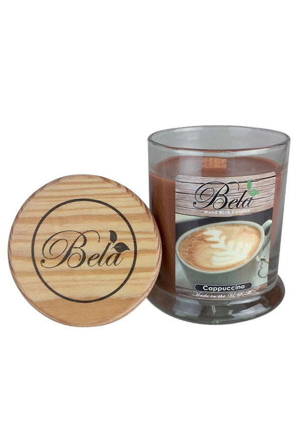 Bela Home Fragrance Cappuccino Wood Wick Candle 9 Oz