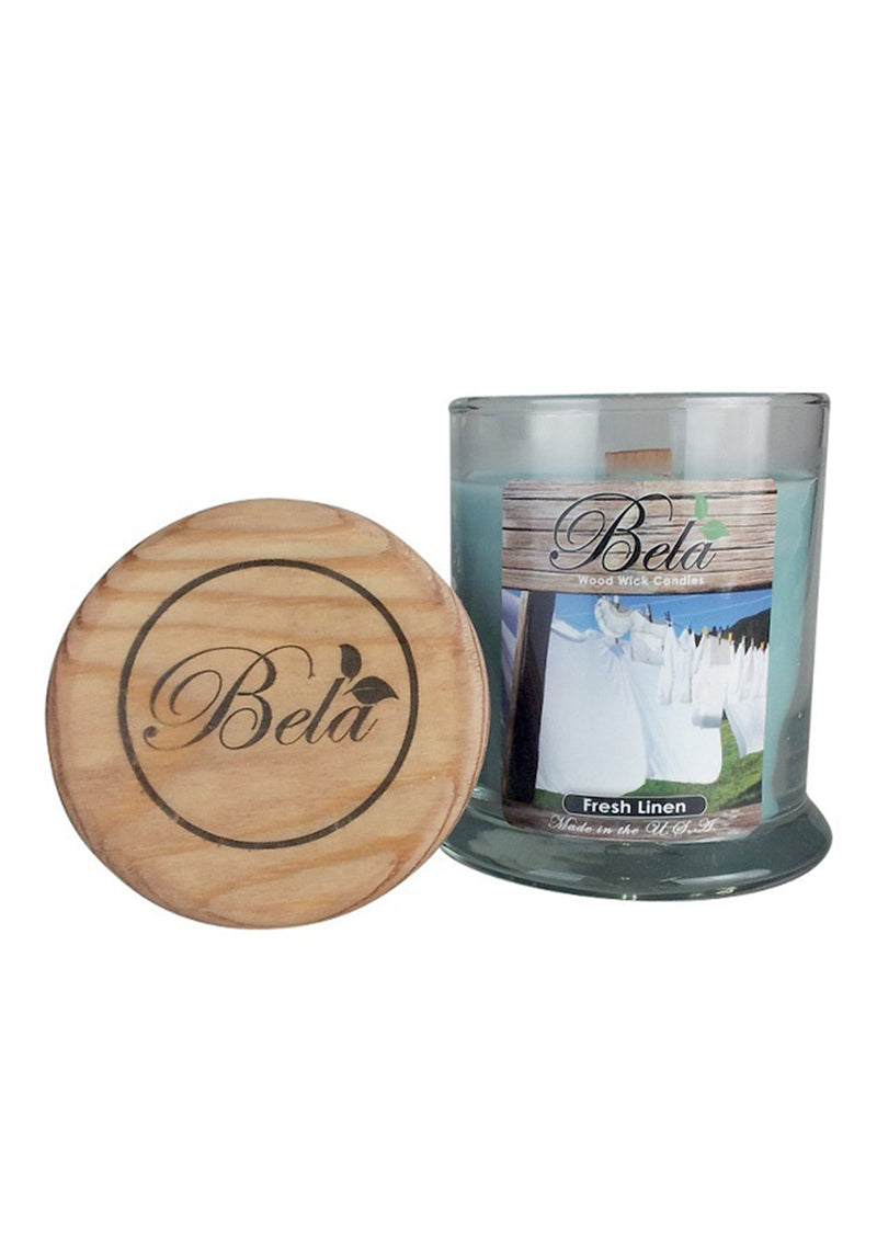 Bela Home Fragrance Fresh Linen Wood Wick Candle 9 Oz