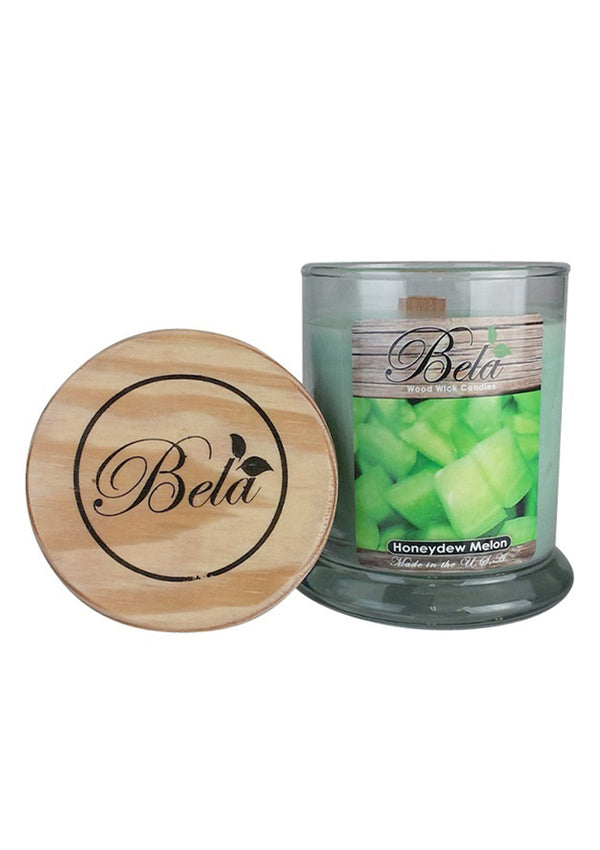 Bela Home Fragrance Honeydew Melon Wood Wick Candle 9 Oz