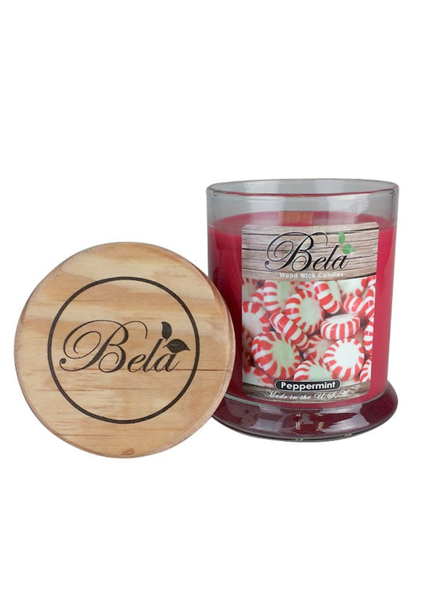 Bela Home Fragrance Peppermint Wood Wick Candle 9 Oz