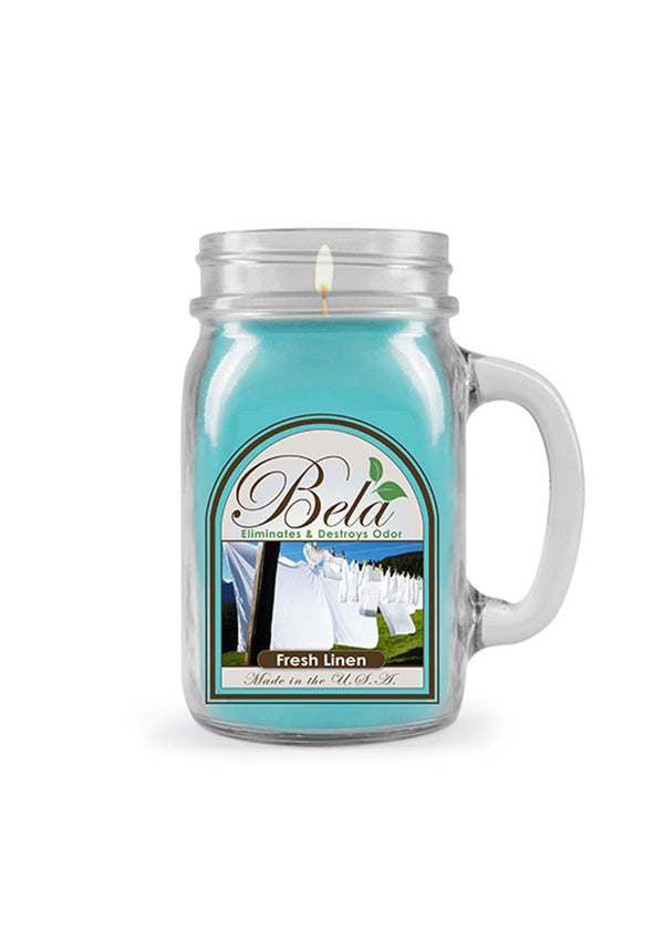 Bela Home Fragrance Fresh Linen Mug Candle 13 Oz