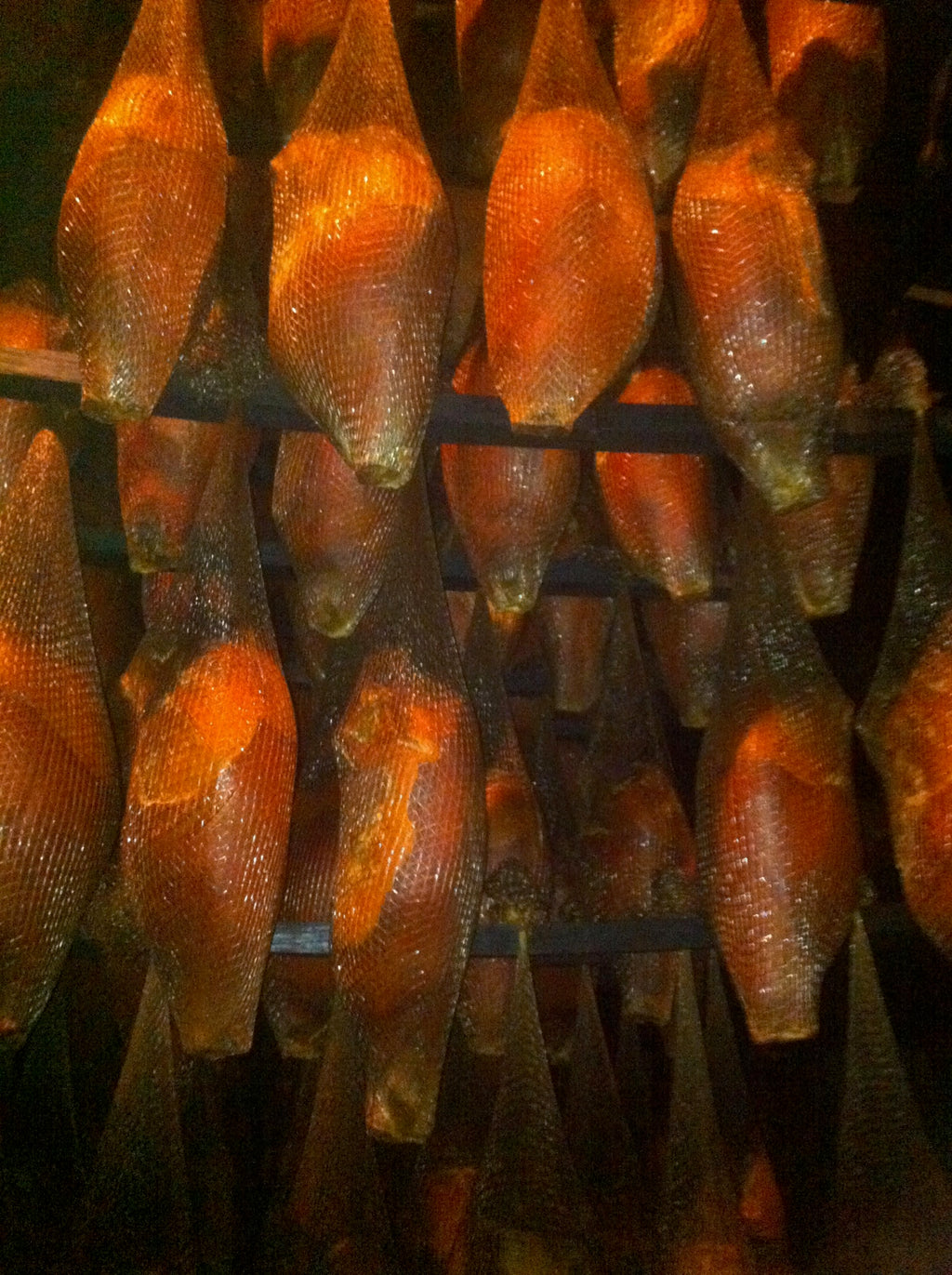 Father's Country Hams Aging in our Smoke House