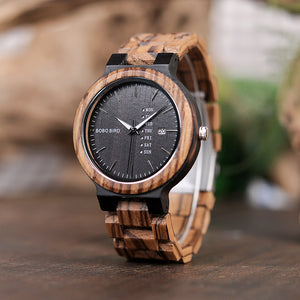 Men's Zebra Wood Business Wrist Watch