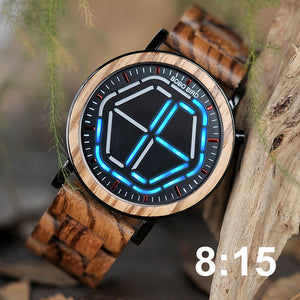 Men's Bamboo Wood LED Display Digital Wristwatch