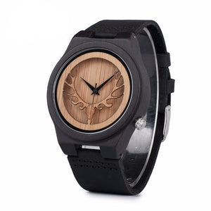 Engraved Elk Head Bamboo Mens wooden watch with Leather Strap