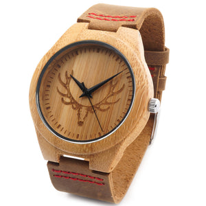 Men's Engraved Elk Head Wood Wristwatch with Red Stitch Leather Strap in Gift Box