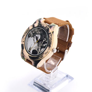 Men's Wolf Head Wood Watch in Gift Box