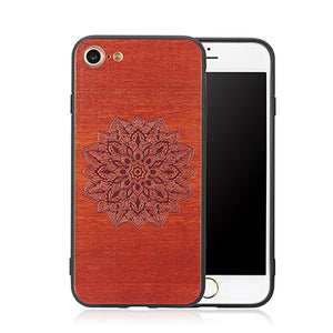 Flower Embossed Design Wood Case For iPhone 6, 6s, 7, 7Plus
