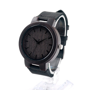 Men's Antique Black Sandalwood Wood Watch with Black Leather Strap