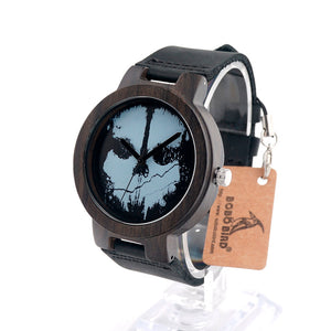 Halloween Skull Feature Design Wood Watch