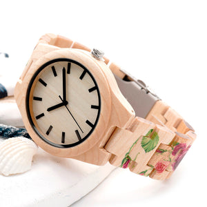Tech Rose Flower Print Maple Wood Wristwatch in Gift Box