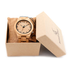 Men's Bamboo Wristwatch with Safety Clock and Folding Clasp